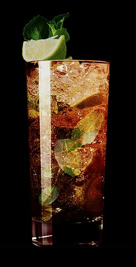 Black Mojito   2 parts Kraken Rum - 2 slices lime - Muddled mint leaves - 1 tbsp sugar - Top with soda
