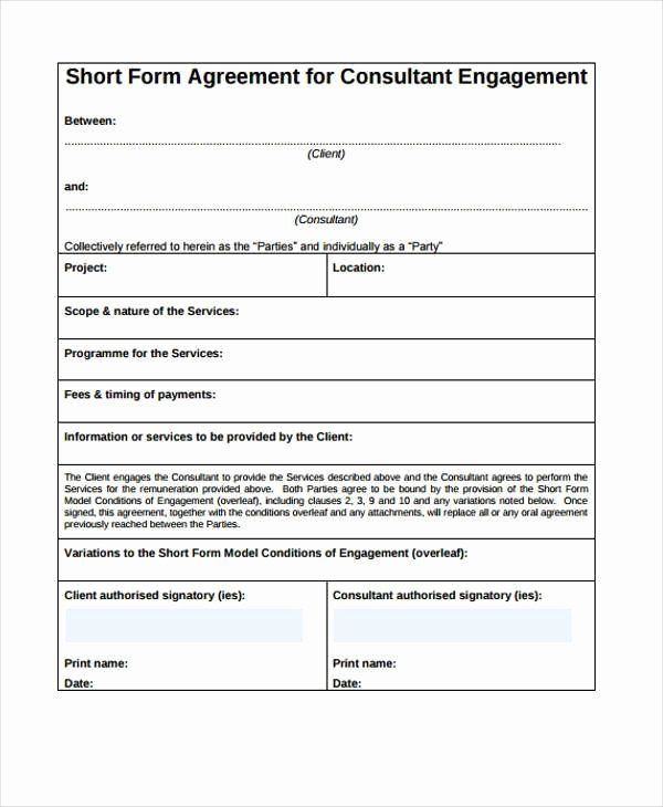 Consulting Agreement Template Short Lovely Consulting Agreement Form Samples 7 Free Sample Agreement Templates Web Design Contract