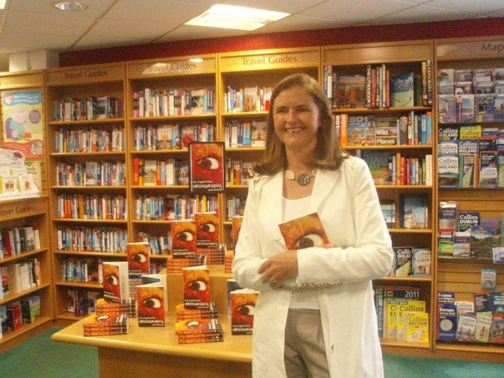 Jean Flitcroft, proud of her books' invasion at the Mexican Devil launch at Dubray Books in Blackrock