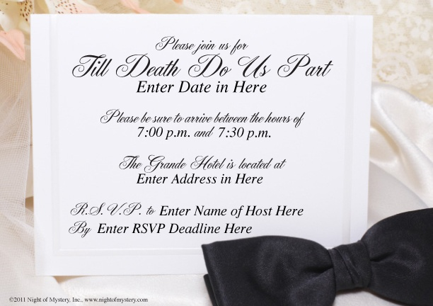 Download an invitation to this wedding themed murder ...