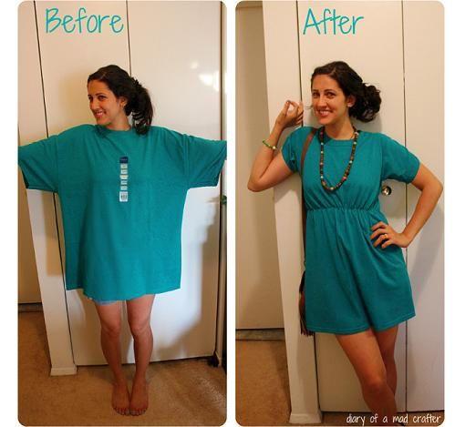 reciclar camiseta en vestido                                                                                                                                                                                 Más