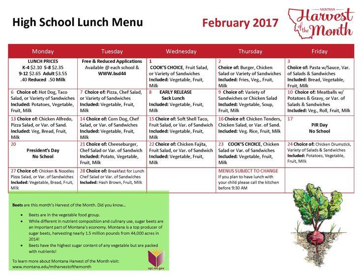 Secondary School Lunch Menu