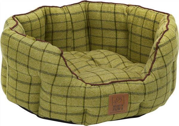 Beds House Of Paws Tweed Oval Dog Bed Medium Green Dog Bed