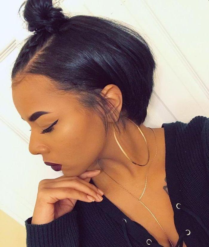 Braided Bun Short Hairstyles For Black Girls Black Sweater Large Hoop Earrings Short Hair Styles Short Natural Hair Styles Hair Styles