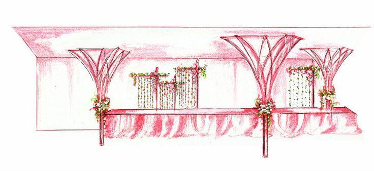 Wedding reception banquet arrangement by Yuna Weddings