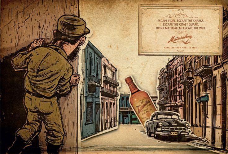Read more: https://www.luerzersarchive.com/en/magazine/print-detail/matusalem-rum-36993.html Matusalem Rum (Expelled from Cuba in 1959.) Campaign for Matusalem brand rum. Tags: Emiliano Trierveiler,Kaspen, Prague,Jaime  Mandelbaum,Matusalem Rum,Martin Bo Zach,Don Studio