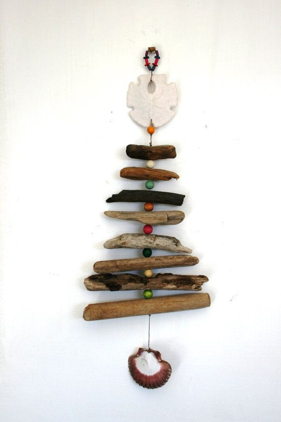 Driftwood, Shell, Bead Mobile, Beach Mobile, Beach Home Decor with Wooden Beads on Etsy, $28.00