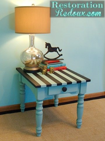 Aqua Striped Chalkpainted Table http://www.restorationredoux.com/?p=3986