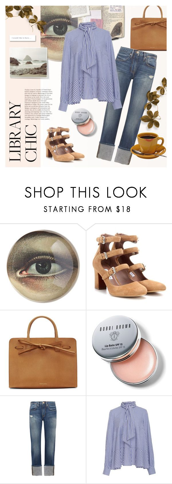 """""""Library Chic"""" by kouyouzi ❤ liked on Polyvore featuring John Derian, Tabitha Simmons, Mansur Gavriel, Bobbi Brown Cosmetics, Frame, Yves Saint Laurent, Tanya Taylor and vintage"""