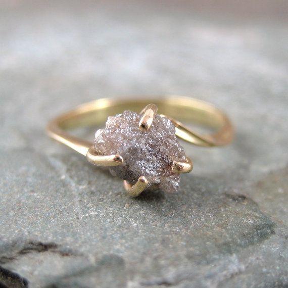 Raw uncut rough diamond engagement ring #wedding