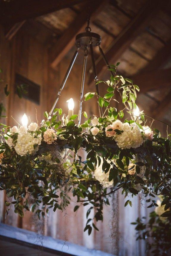 Wedding Trends - Floral Chandeliers.  Charleston wedding at Magnolia Plantation and Gardens via amelia + dan photography