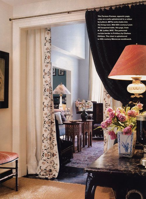 David Netto.  It took me almost a year to track down these curtains for my living room.  I carried the photo with me everywhere. I was obsessed.  I finally called David Netto and offered to pay him to give me the information.  He very kindly told me the fabric name was written in the caption on the page. It was....Fritillary Border - Chelsea Editions.