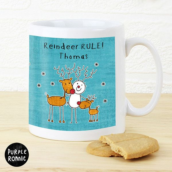 Purple Ronnie Reindeer Rules Mug - Add your own message to the front and rear of this festive mug.  Great Secret Santa Gift