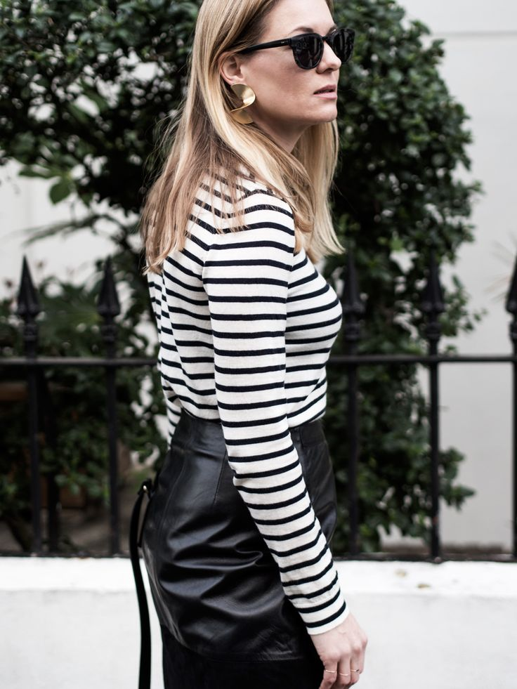 Samsøe & Samsøe Sanella Stripe Sweater, ME+EM Leather Wrap Skirt, Air & Grace Leopard Print Trainers & A.P.C. Bag | @styleminimalism