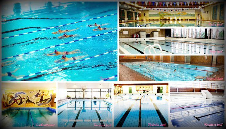 Bildecollage Oslo badene innendørs. Mer info om badene: http://www.bymiljoetaten.oslo.kommune.no/idrett_og_fritid/svommehaller_og_bad/