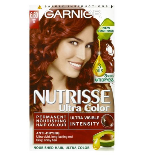 Garnier Nutrisse Ultra Permanent Colour 6.60 Fiery Red - Boots