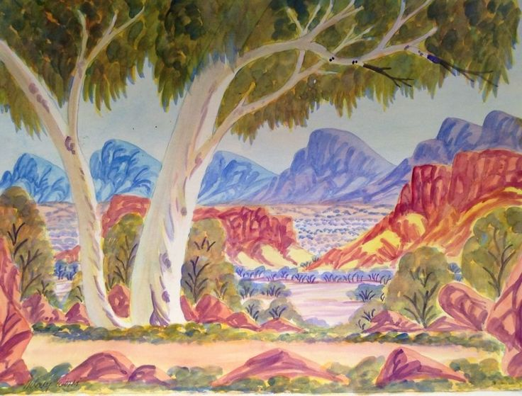 Water Colour Indigenous Namatjira Landscape Aboriginal ART DOT Painting Dingo | eBay