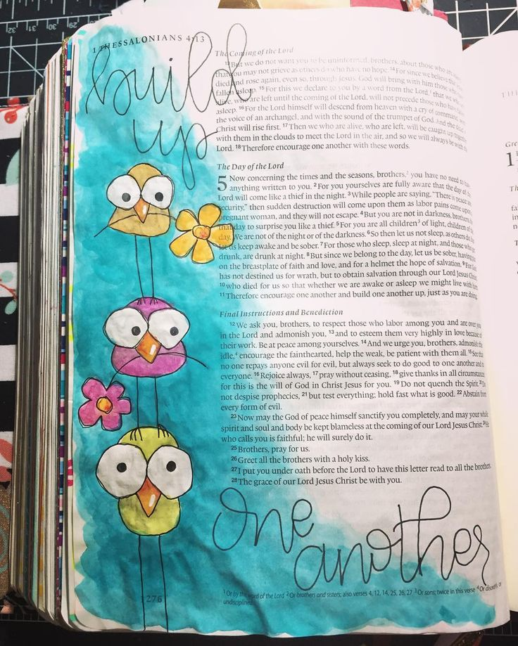 "I am so grateful for this amazing Bible journaling community! You all are the perfect example of 1 Thessalonians 5:11 ""Therefore encourage one another and build one another up just as you are doing."" .  I still crack up thinking about @kristenwolbach's periscope on this verse a while back! I knew I also had to do some birds for this verse and found these cute little guys on Pinterest! Pinterest is my new Google for anything art related nowadays I don't know what I'd do without it…"