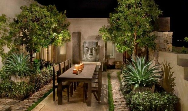 great garden .. sculptured, lots of different height - I'd like more lighting  - something really interesting - for the outdoor dining table