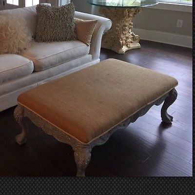 SALESALESALE French Country Bench Ottoman Coffee Table Burlap Upholstery