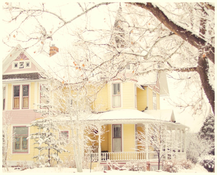 Whimsical winter photo of a house in Colorado, pastel colors, snow, home decor print, soft. $18.00, via Etsy.