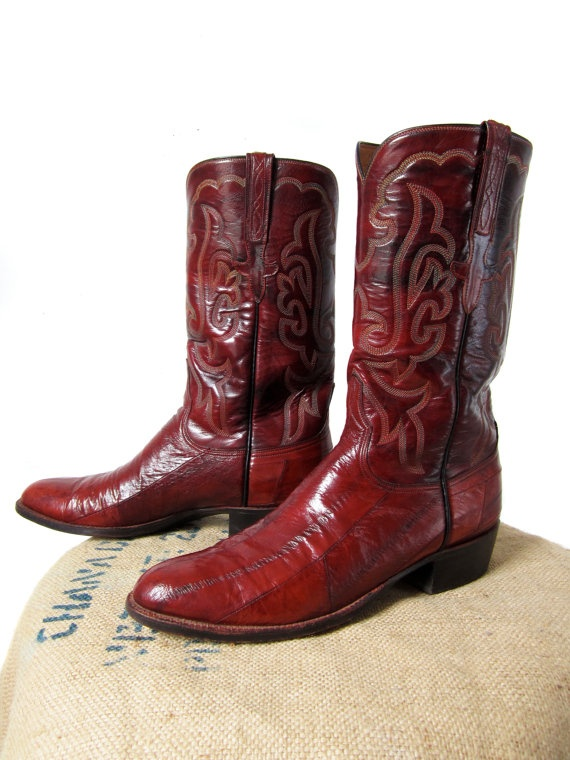 Vintage Lucchese Eel Skin Boots Burgundy Leather Rare San