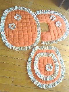 Artesanato com Criatividade: Jogos de banheiro de tecido