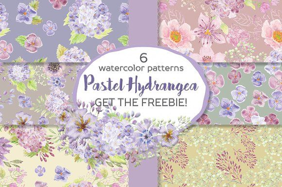 Hydrangea patterns + FREEBIE by Lolly's Lane Shoppe on @creativemarket