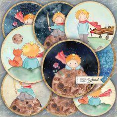 El conjunto de pequeños príncipes - círculos de 2,5 pulgadas - de 12 - hoja de collage digital - espejos de bolsillo, tags, scrapbooking, toppers de cupcake