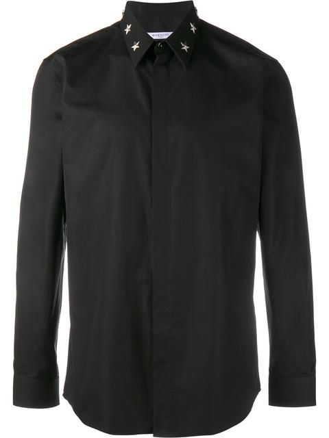GIVENCHY Star Studded Collar Shirt. #givenchy #cloth #synthetic->carbon