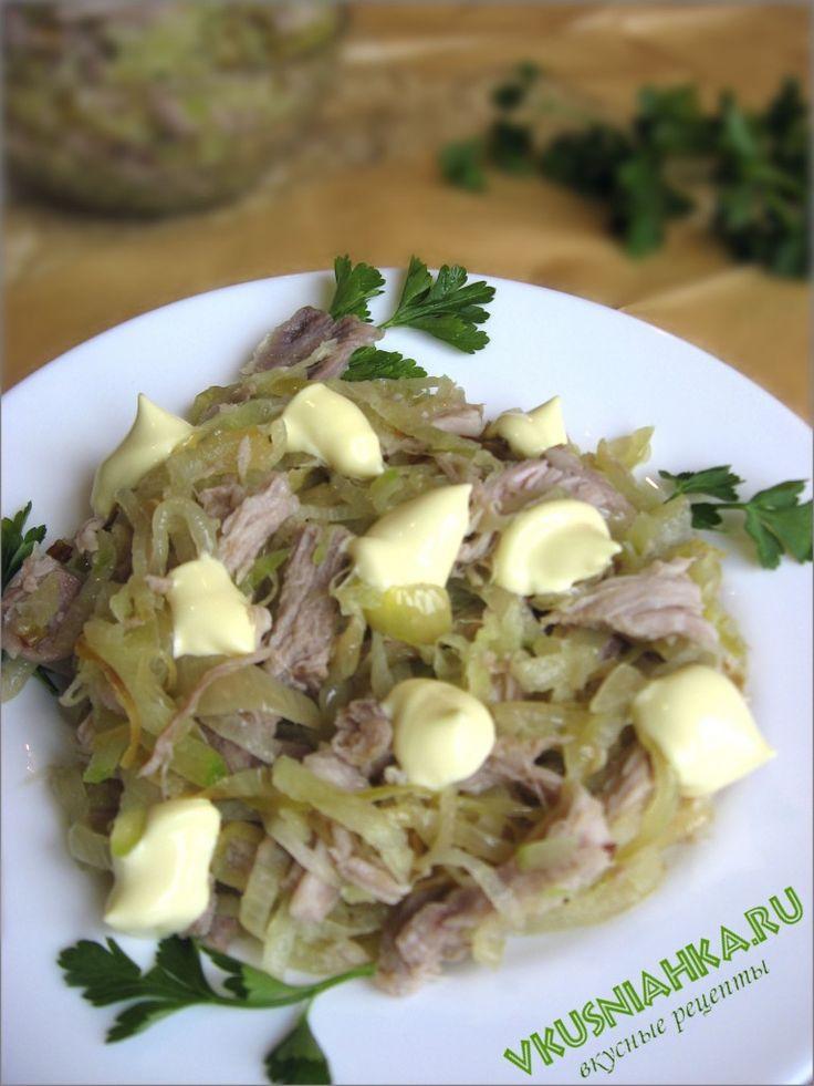 Салат из редьки с мясом и грибами