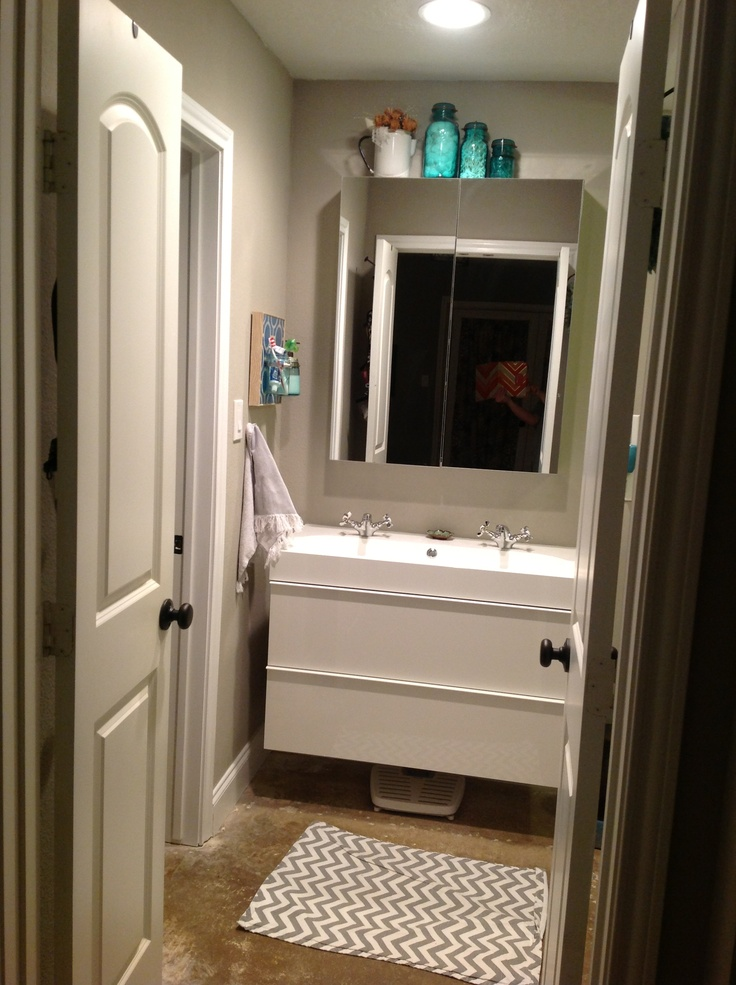 Trough sink, Floating vanity and Medicine cabinets on Pinterest