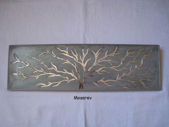 """Tableau """"Auprès de mon arbre"""" mosaïque de miroir et enduit ciment gris"""