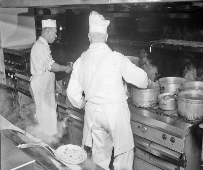 Cooks in Italian Village Restaurant kitchen, 1959