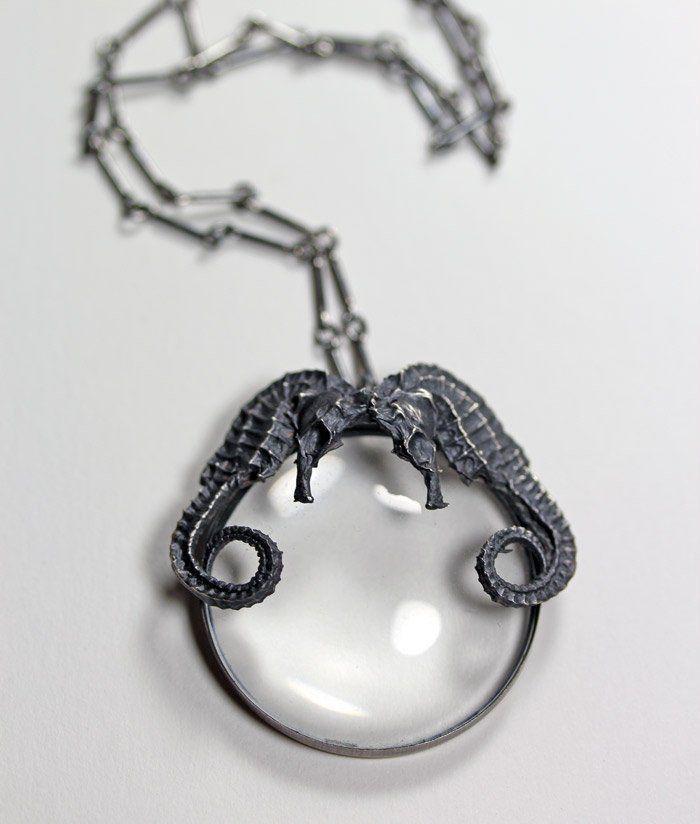 Ariel. Conjoined seahorse spyglass necklace. – Blood Milk Jewels