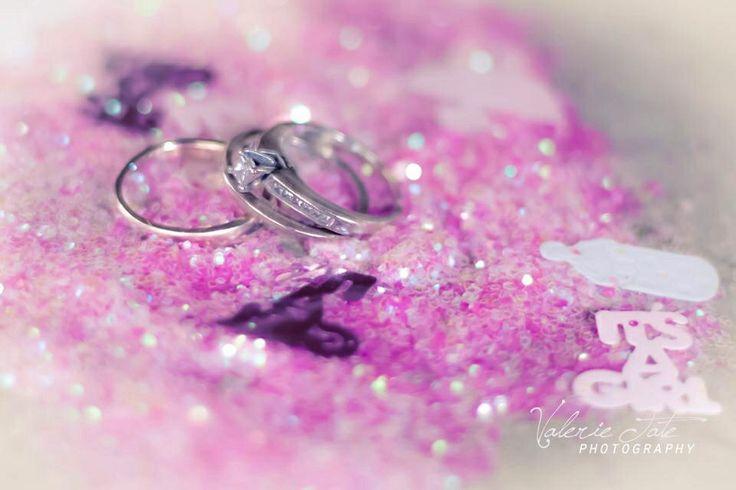 Gender Reveal Pregnancy Photography Glitter wedding rings
