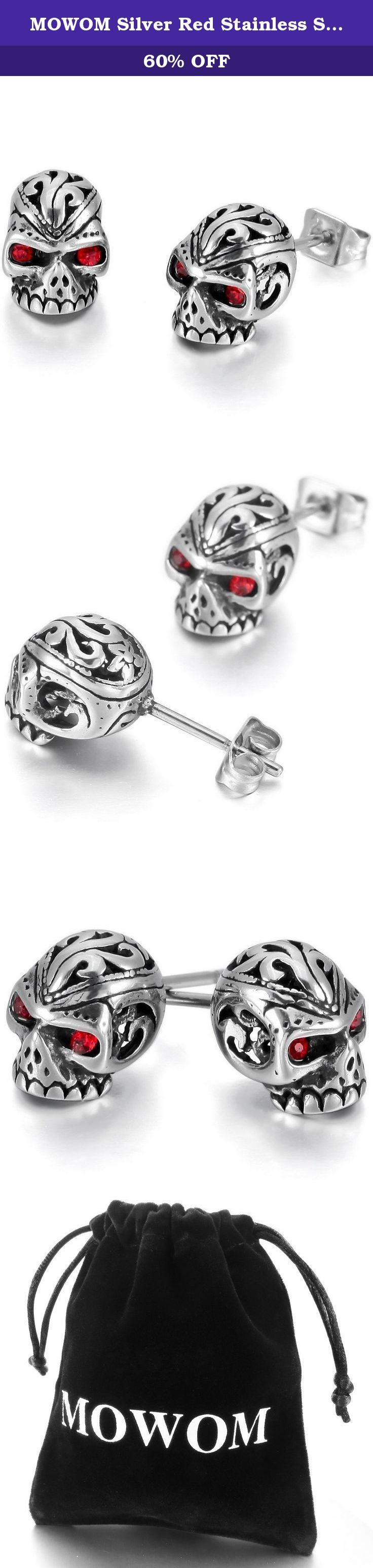 MOWOM Silver Red Stainless Steel Stud Earrings CZ Skull. Silver Red Stainless Steel Stud Earrings CZ Skull.