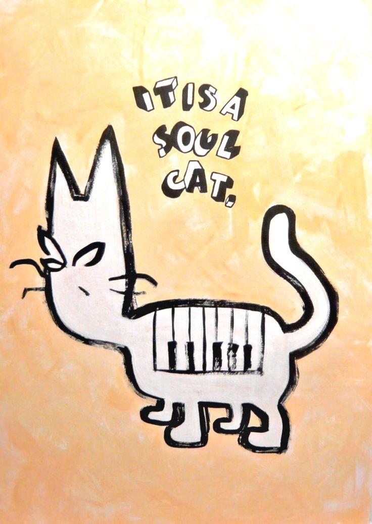 Soul Cat  #illustration #イラスト #comicart #popart #contemporaryart #soulmusic #猫 #落書き #graffiti