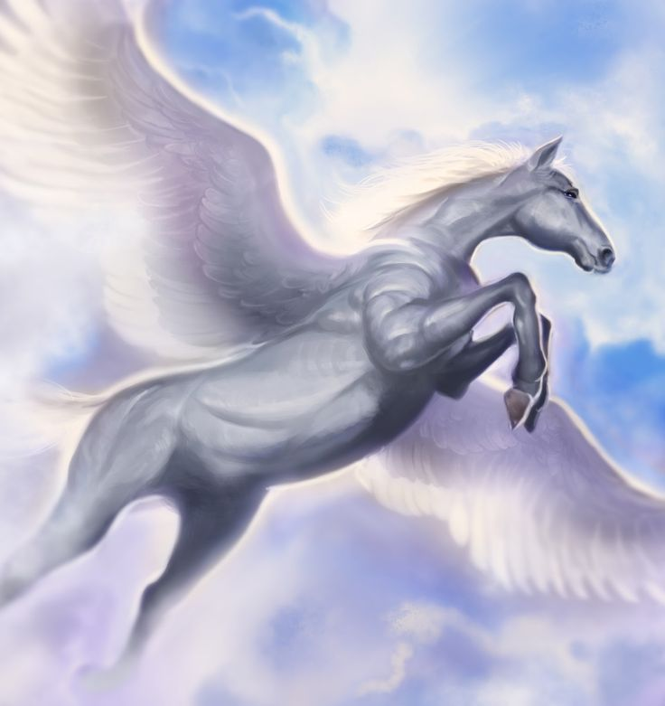 The famous immortal, winged horse which sprang forth from the neck of Medousa when she was beheaded by the hero Perseus...   Pegasus is amongst the very few of so-called epic creatures which are NON-evil....   Pegasos was tamed by Bellerophon, a Korinthian hero, who rode him into battle against the fire-breathing Khimaira.   The horse was also placed amongst the stars as a constellation, whose rising marked the arrival of the warmer weather of spring and seasonal rainstorms...