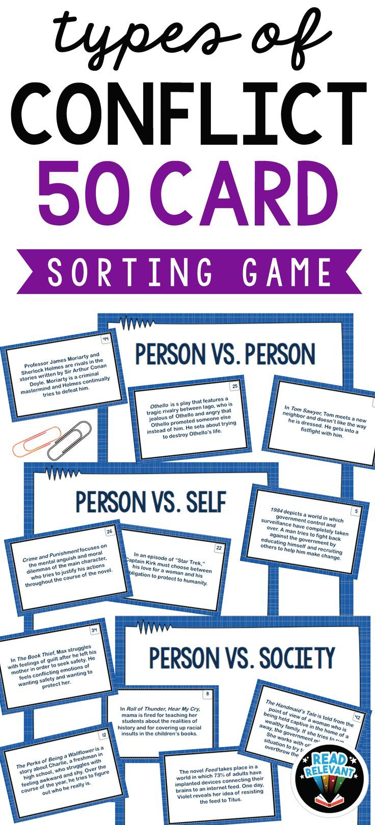 Types Of Conflict Sort 50 Card Sorting Game Types Of Conflict Conflict In Literature High School Reading