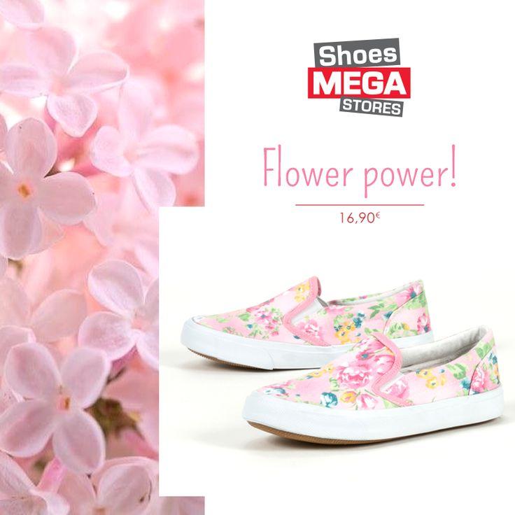 Ροζ, λουλουδάτα slip ons βάζουν τις μικρές κυρίες στο mood της Άνοιξης!  #shoesmegastores #sneakers #girls #pink