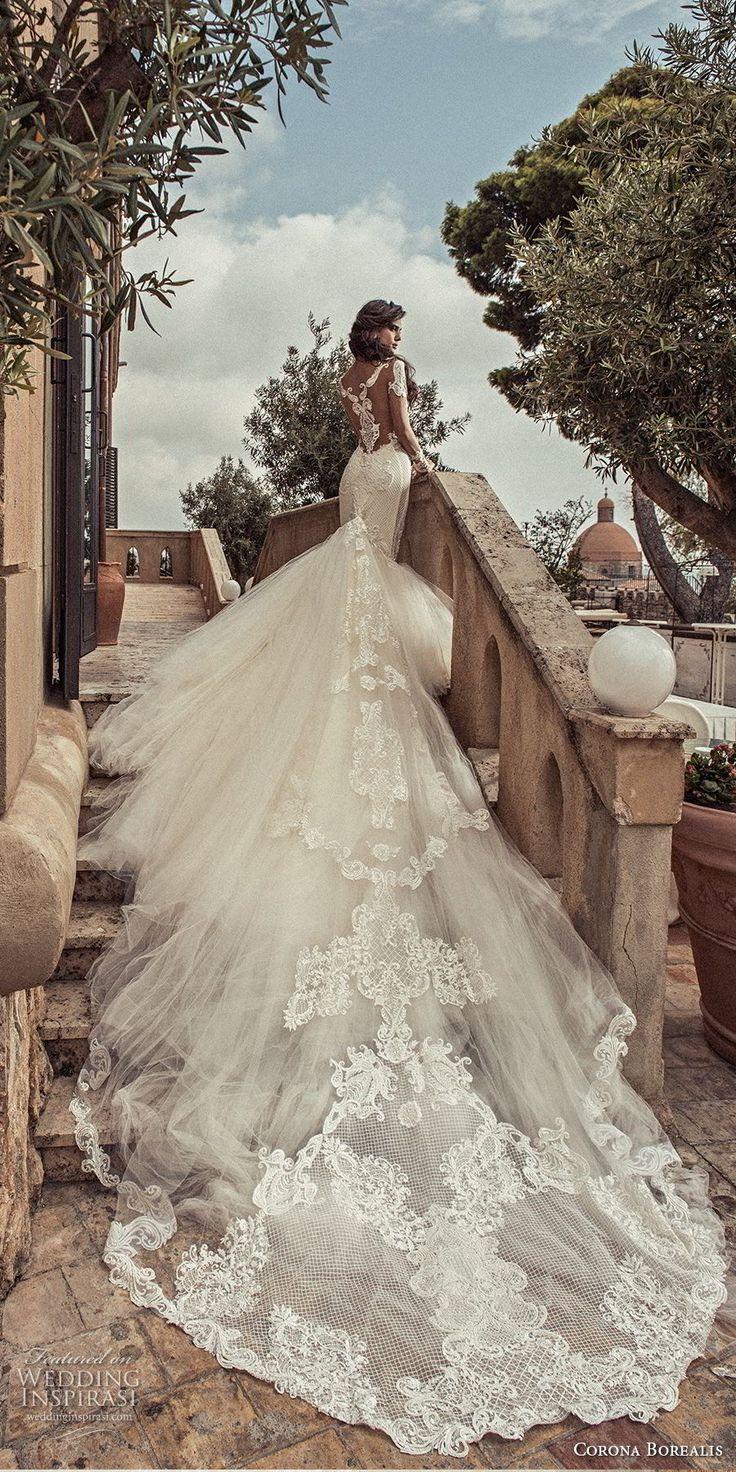corona borealis 2018 bridal long sleeves illusion jewel neck deep plunging sweetheart neckline full embellishment princess mermaid wedding dress sheer lace back royal train (4) bv -- Corona Borealis 2018 Wedding Dresses
