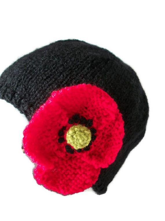 Flapper poppy hat Hand knitted cloche by thekittensmittensuk, £15.99