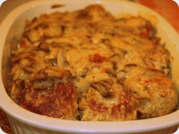 Курица в грибном соусе с сыром   Рецепты для Вас!