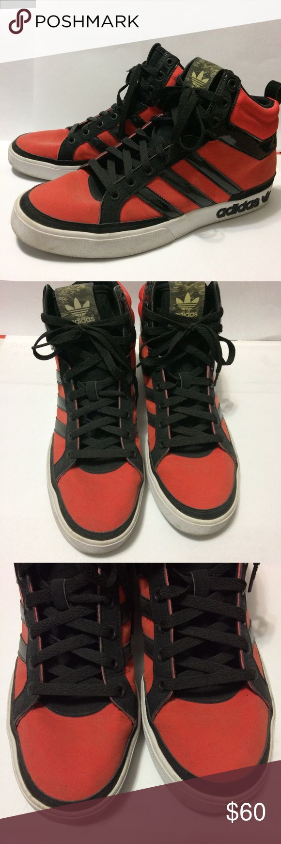 Adidas Originals Camo Pack Top Court Mid Lightly used red and black Adidas Originals Camo Pack Top Court Mid Shoes. 👞 This is a Men's Size 10. The coloring is a bit of a dusty red and the front part is slightly creased (shown in the photo). Adidas Shoes Sneakers