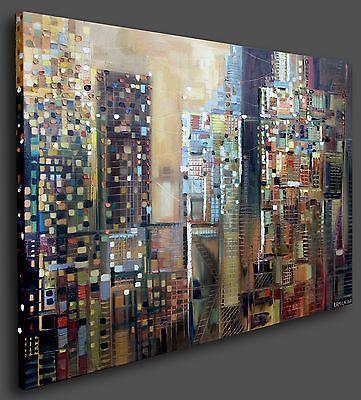 SOHO New York City 48x36 inch Oil Painting Skyline Abstract Modern Art Ermilkina