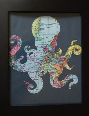 A Crafter in Chaos: Octopus Frame Print for a Pirate Room. Except in a pirate symbol/mermaid too *Interesting for a frame, cute for a room really unique