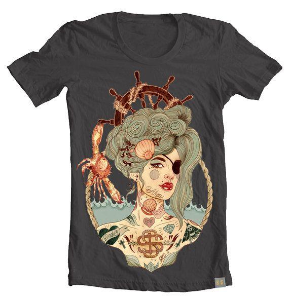 Mermaid Ahoy Nautical T-Shirt Unisex T-Shirt Gray by wengergirl