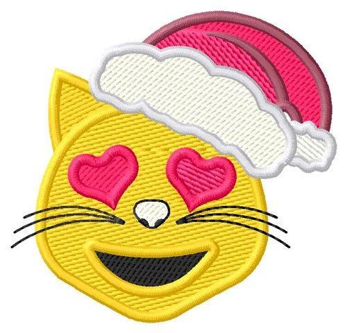 Kitty Emoji Santa 2 Sizes Machine Embroidery Design | Windmill