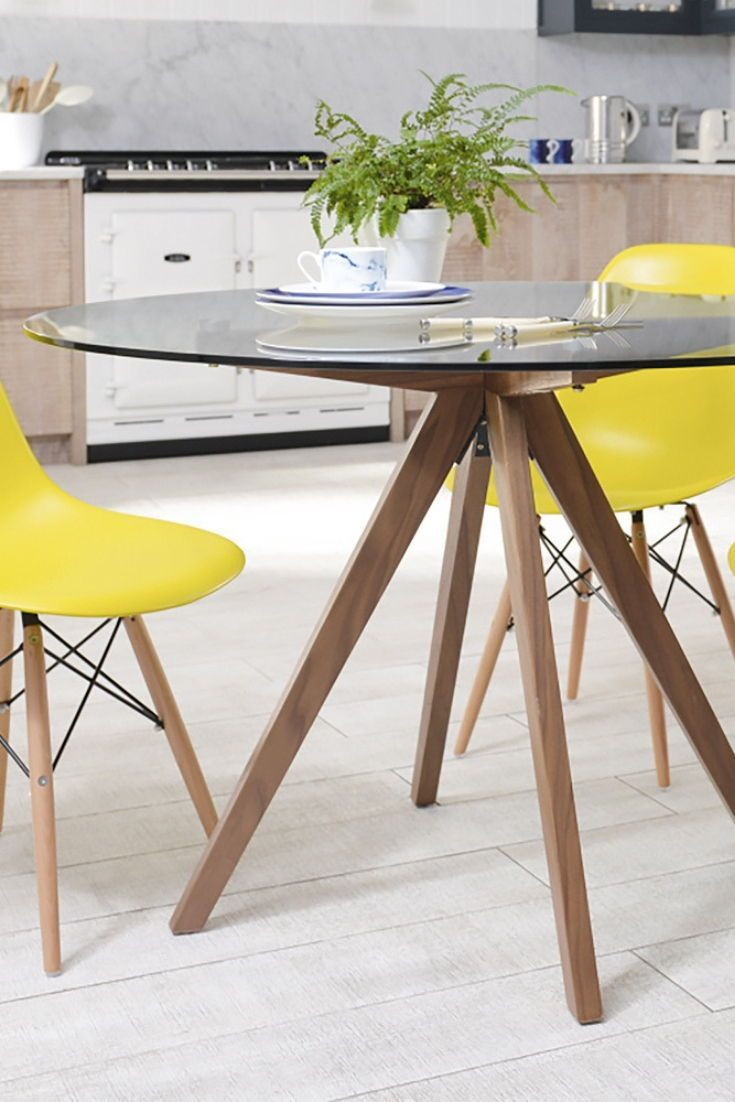 Tempered Glass Round Dining Table With Walnut Legs Compact